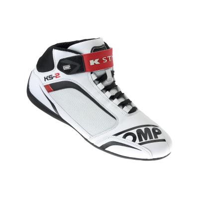Botas OMP KS2 - Branco/Vermelho/Preto