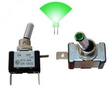 Interruptor com Luz 12V 20A Verde